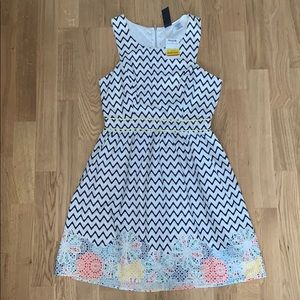NWT White Blue Geometric Trixxi Dress